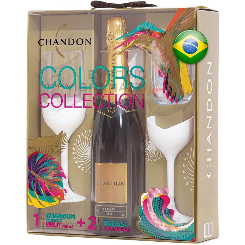 Foto Kit Chandon Colors Collection Brut com 2 taças 750ml