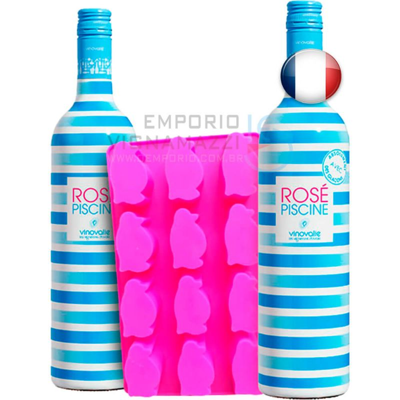 Foto Kit 2 Garrafas de Vinho Rose Piscine 750ml + Forma de gelo Pinguim