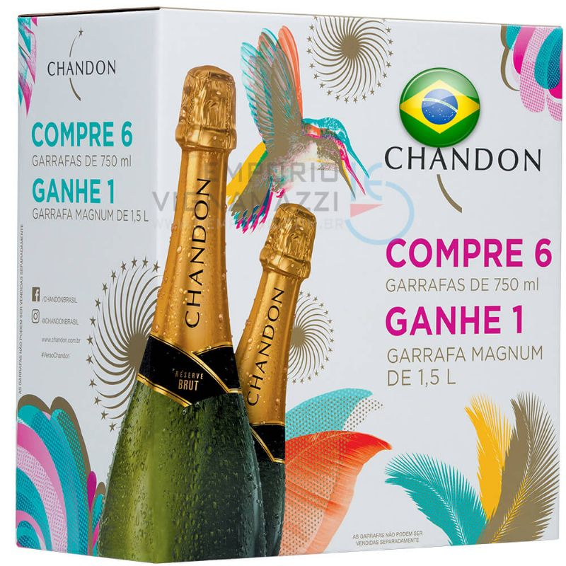 Foto Kit Espumante Chandon Brut 6 Garrafas 750ml e 1 Garrafa 1,5L